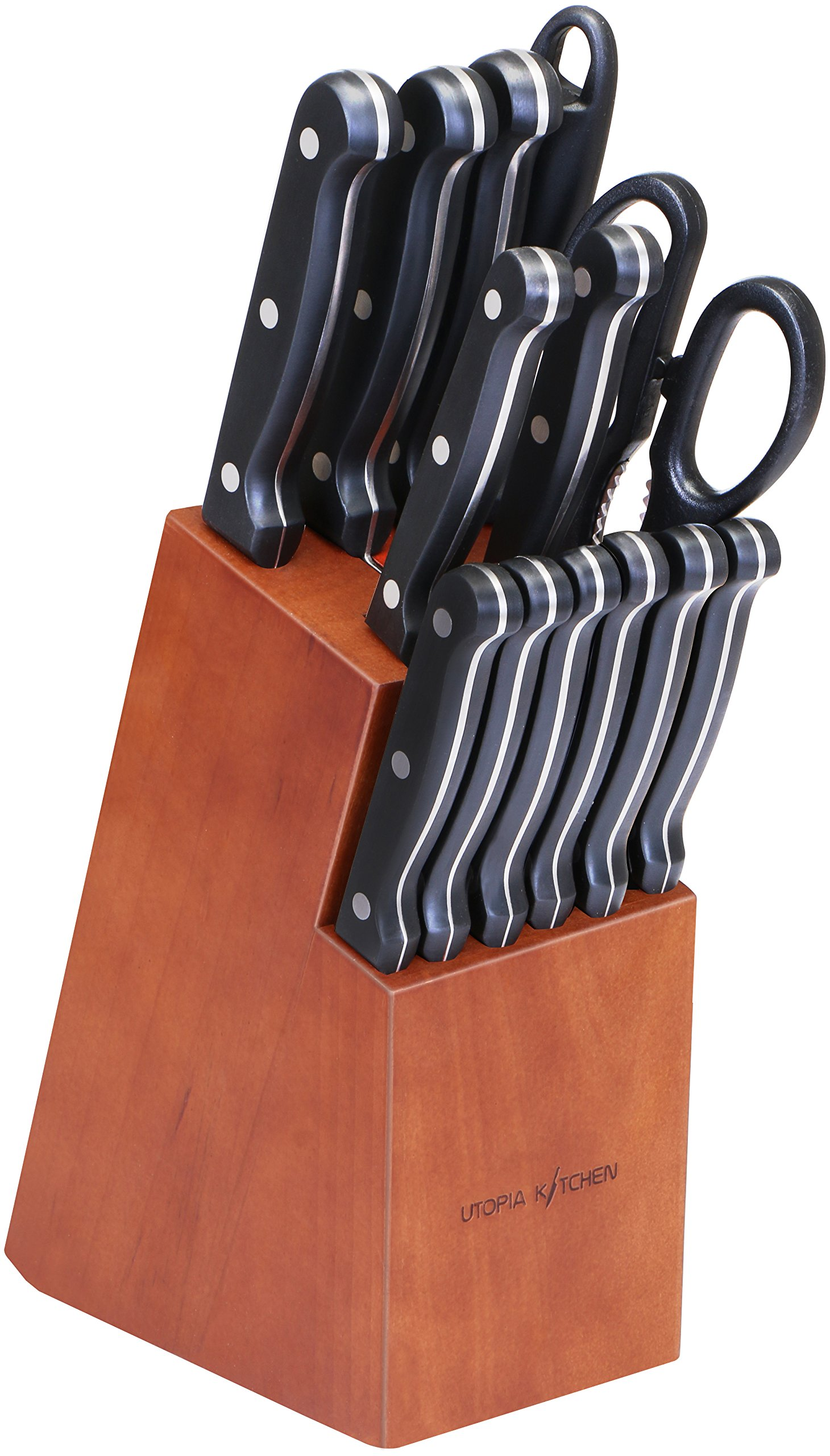 Utopia Kitchen Knife Set - 14 Piece Knife Block Set with Walnut Stained Block