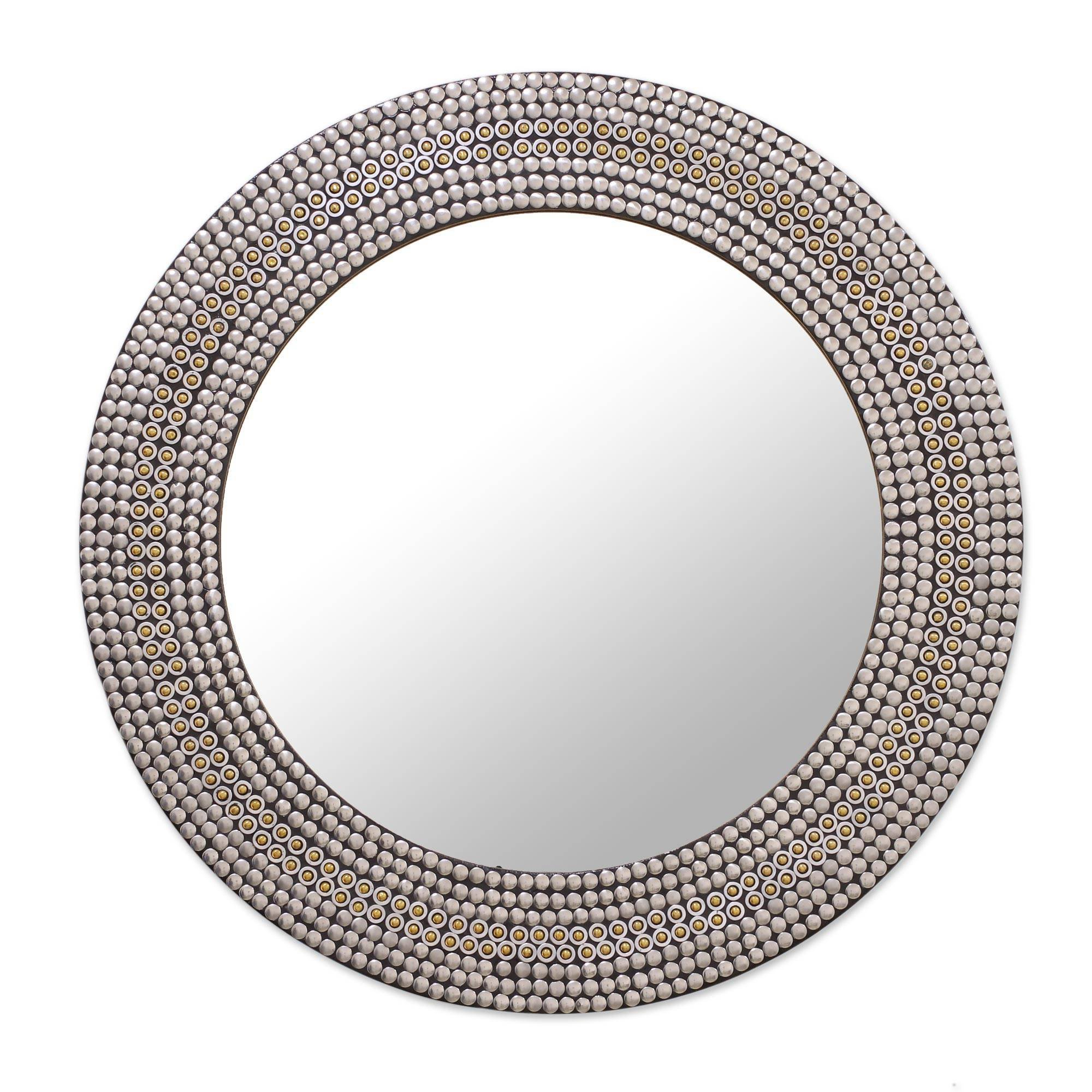 NOVICA Decorative Glass Wall Mounted Mirror, Metallic Brass, 'Shimmery Allure'
