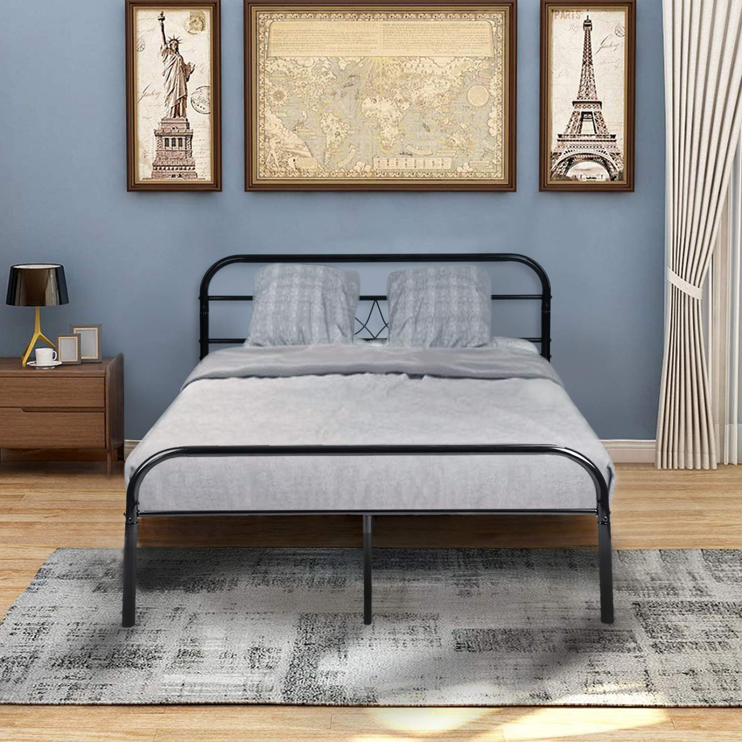 GreenForest Full Bed Frame Metal Platform Double Mattress Base Bed with Headboard No Box Spring Needed, Black