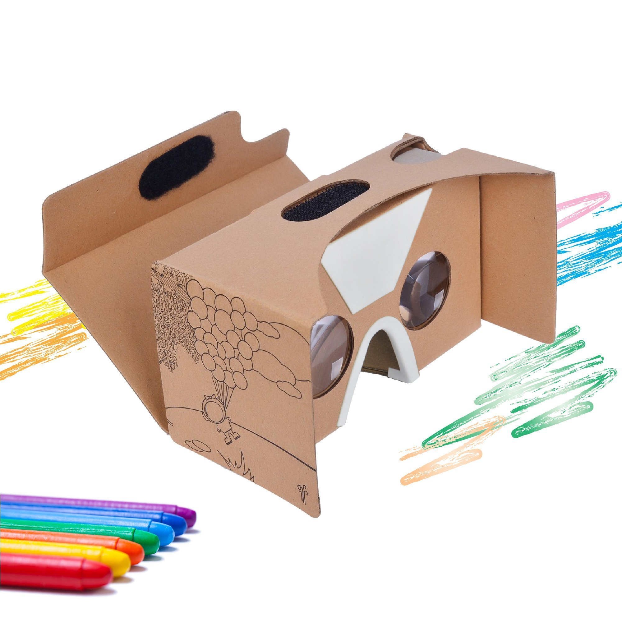 Google Cardboard V2 Virtual Reality Headset By CardboardKid - Kids Friendly, Fun 3D Viewer, Exciting and Educational, Recommended Apps, Compatible with All iPhone and Android Smartphones (Max 6'')