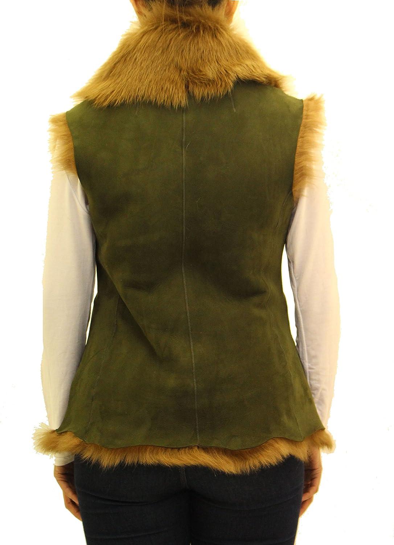 A to Z Leather Aux Femmes Doudoune Vert Olive avec Fourrure