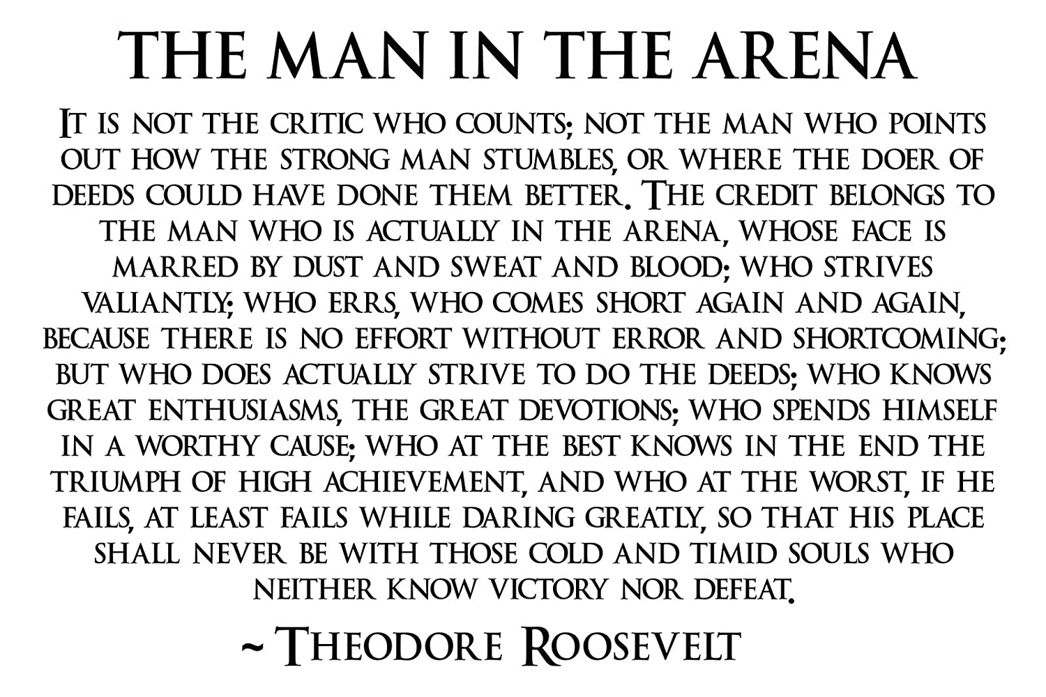 graphic relating to Man in the Arena Free Printable called Theodore Roosevelt Guy Within just The Arena Poster Teddy Roosevelt Poster 24x36 (TEDDY4)