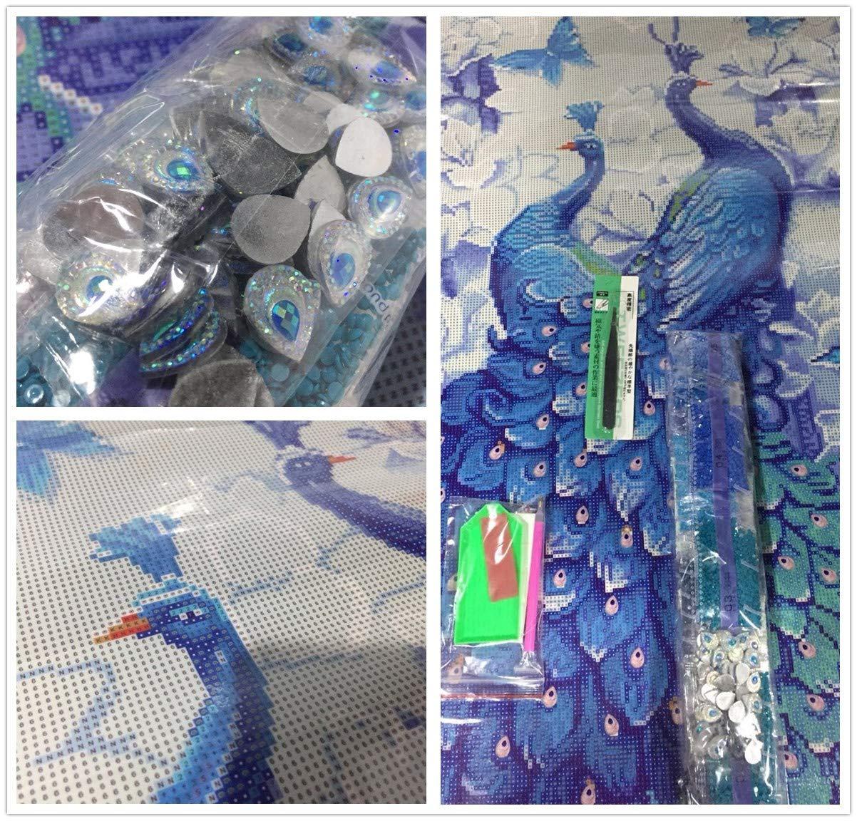 SWECOMZE 5d Diamante Painting Kit DIY Pavone Modello Adesivo Fatto a Mano con Set Digitale Punto Croce Decorazione da Parete