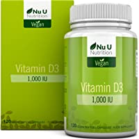 Vitamin D3 Vegan 1,000 IU   120 Softgels - 4 Month's Supply   Allergen & GMO Free Vitamin D Supplement with Extra Virgin Olive Oil   Made in The UK by Nu U Nutrition