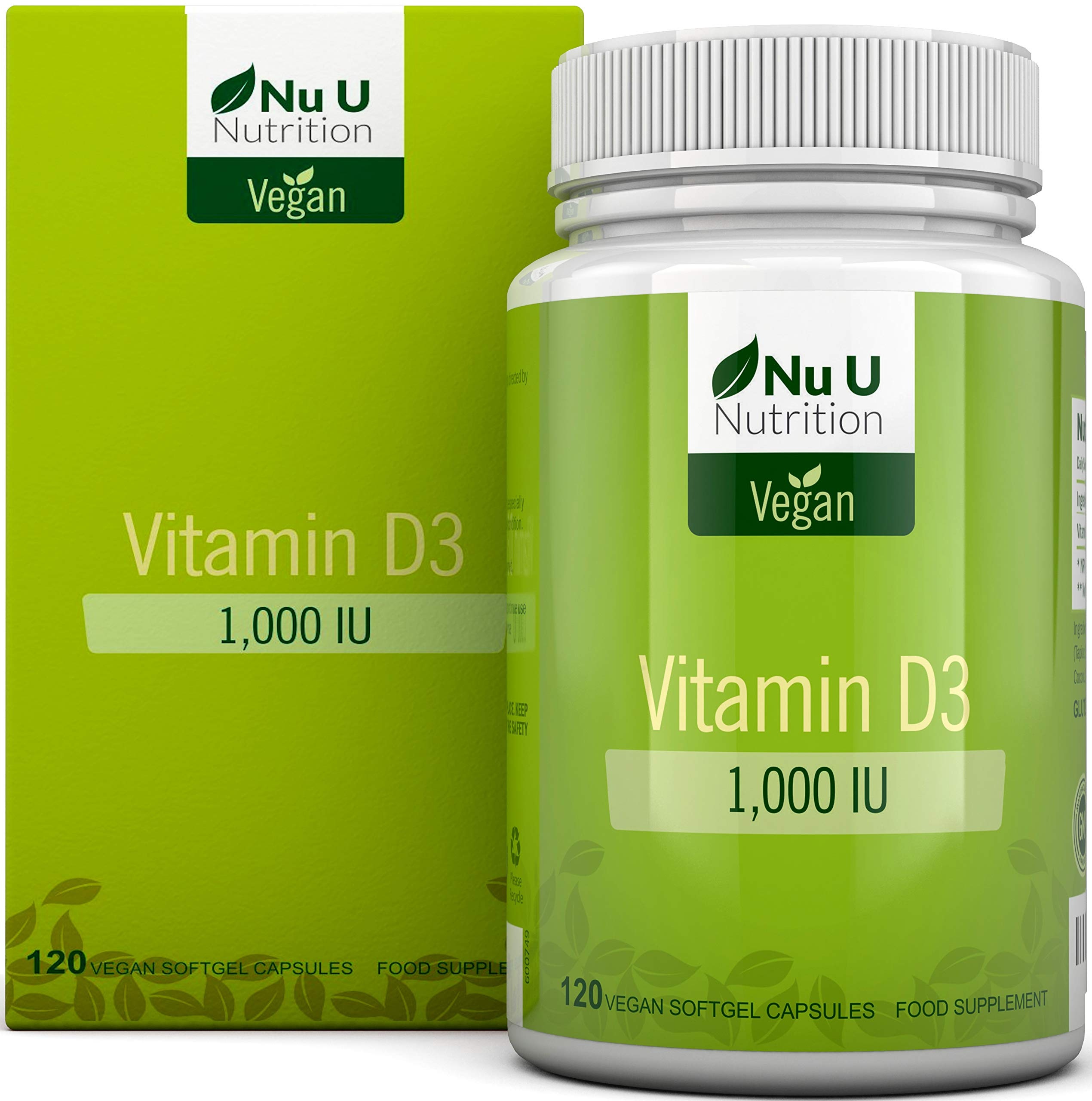 Vitamin D3 Vegan 1,000 IU | 120 Softgels - 4 Month's Supply | Allergen & GMO Free Vitamin D Supplement with Extra Virgin Olive Oil | Made in The UK by Nu U Nutrition product image
