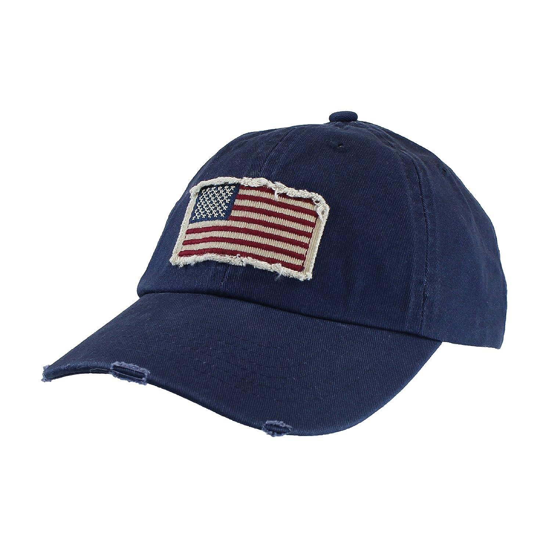 73e36b0d704c61 Amazon.com: Navy Blue Cotton Twill Hat - Vintage Frayed American Flag Baseball  Cap - Unisex: Sports & Outdoors