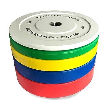 Discos olímpicos Body Revolution, goma, color, 5 cm, para pesas y crossfit, 1,25 kg a 25 kg, 15kg quad: Amazon.es: Deportes y aire libre