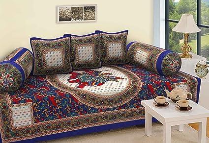 Shree Manglam International Multicolor Deewan Set Diwan Cover Cushion Cover Bolster Cover Blue