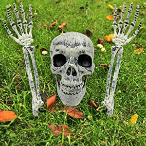 Oasisblossom Realistic Skull and Skeleton Arms Stakes, Real Looking Skeleton Stakes for Yard, Lawn, Ground, Halloween Graveyard Decorations with Stakes for Indoor, Outdoor, Set of 3