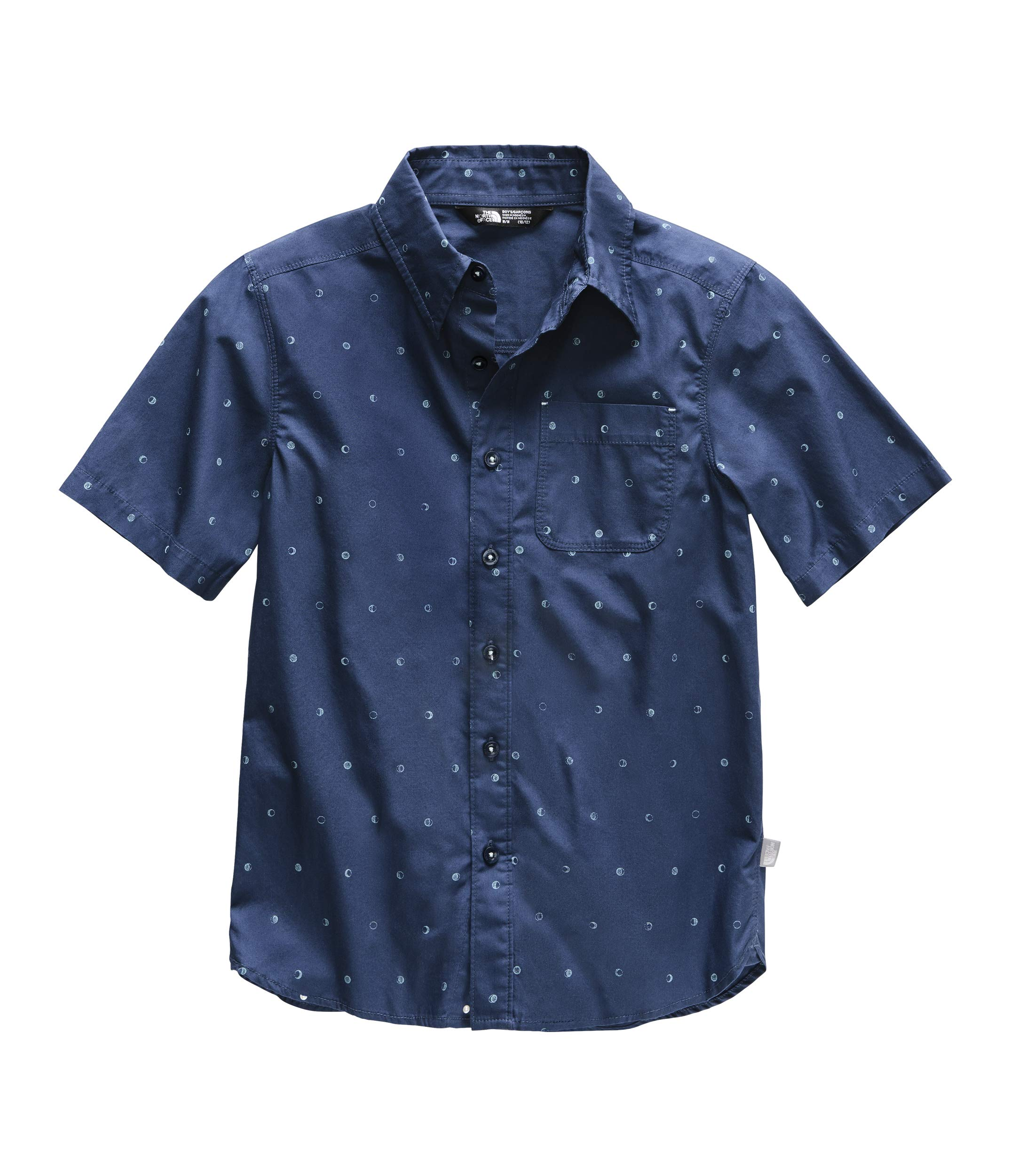 The North Face Kids Boy's Short Sleeve Bay Trail Shirt (Little Kids/Big Kids) Shady Blue Moon Phases Print X-Small