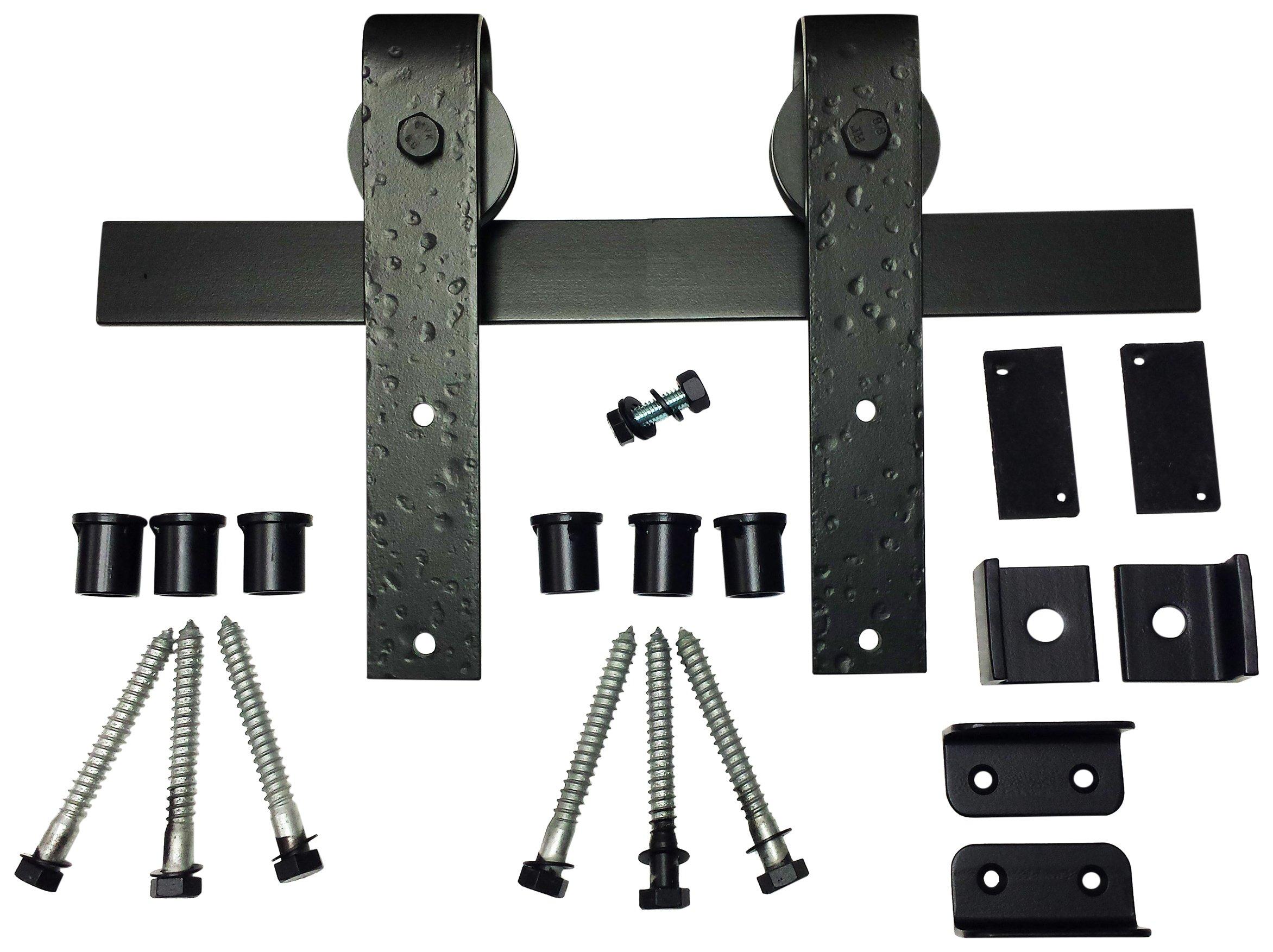 Agave Ironworks RH003-5-01 Barn Door Hardware System with 5' Track, Flat Black Finish