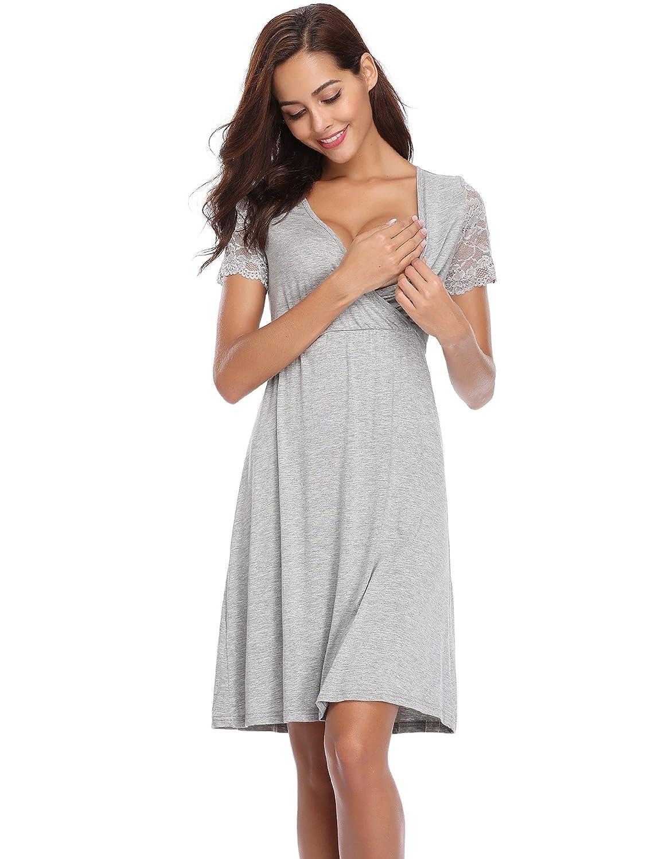 Aibrou Damen Baumwolle Stillnachthemd Umstandskleidung Baumwolle//Kurzarm