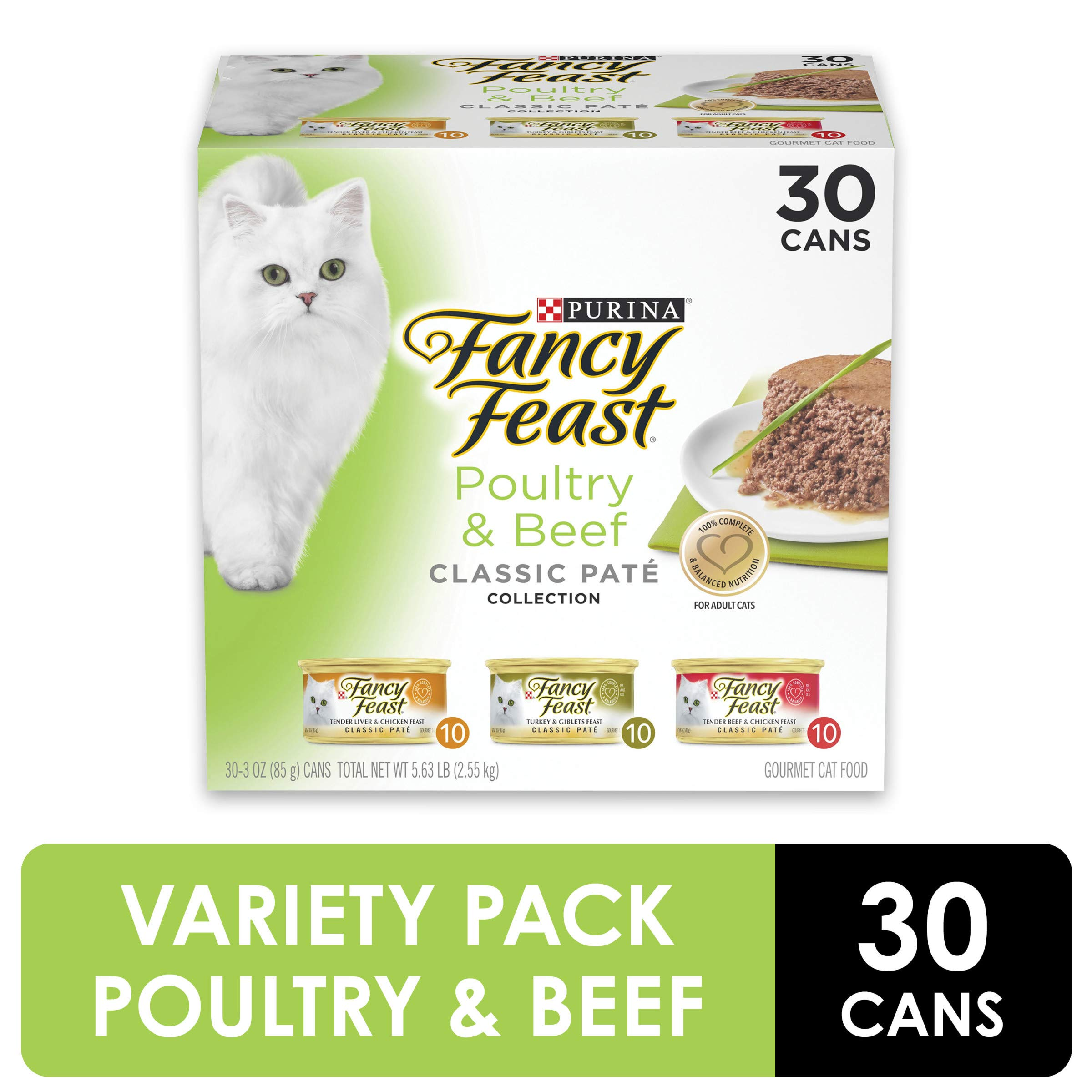 Purina Fancy Feast Grain Free Pate Wet Cat Food Variety Pack, Poultry & Beef Collection - (30) 3 oz. Cans by Purina Fancy Feast