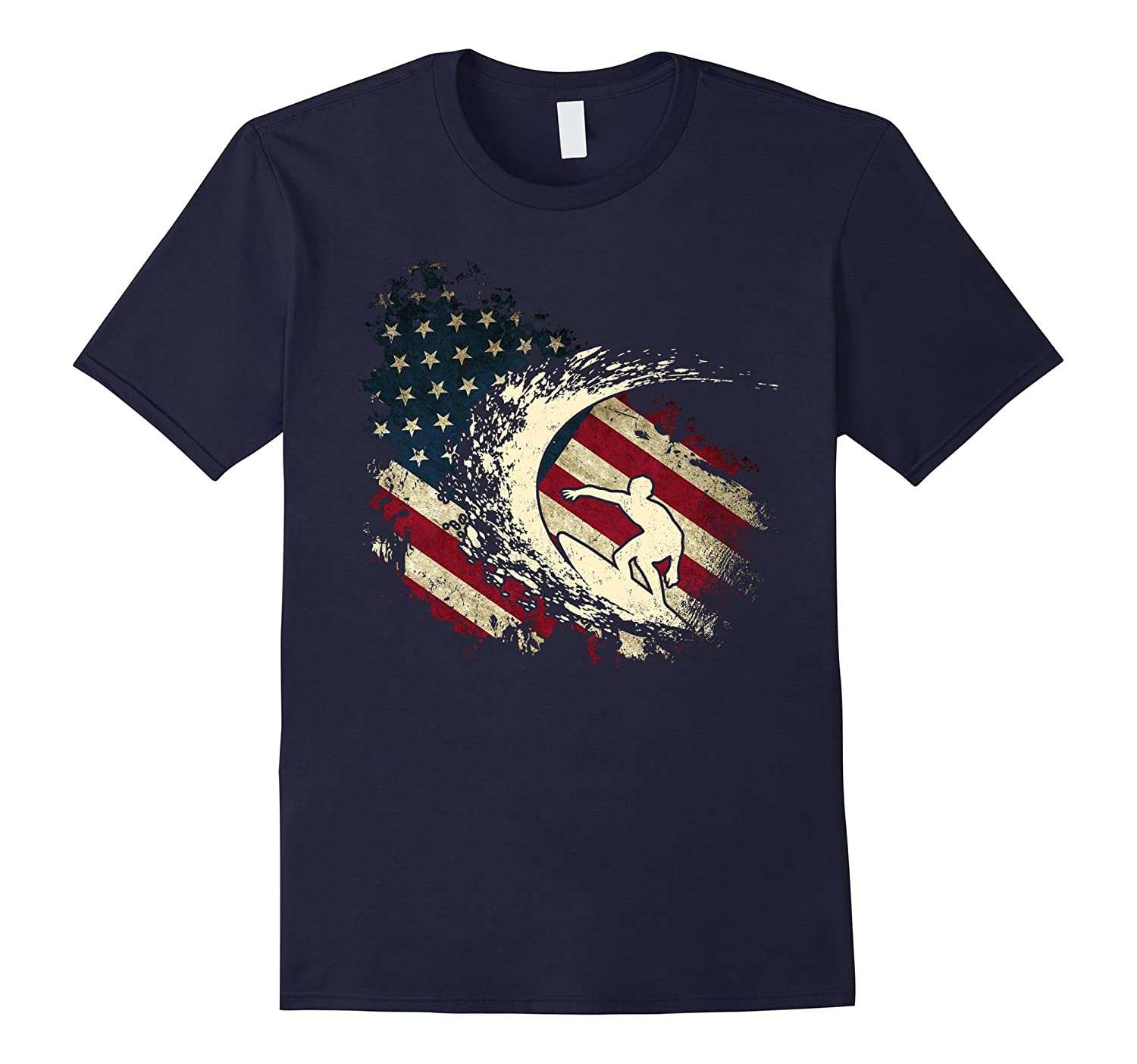 American Flag With Surfing Surfer T-shirt-CL