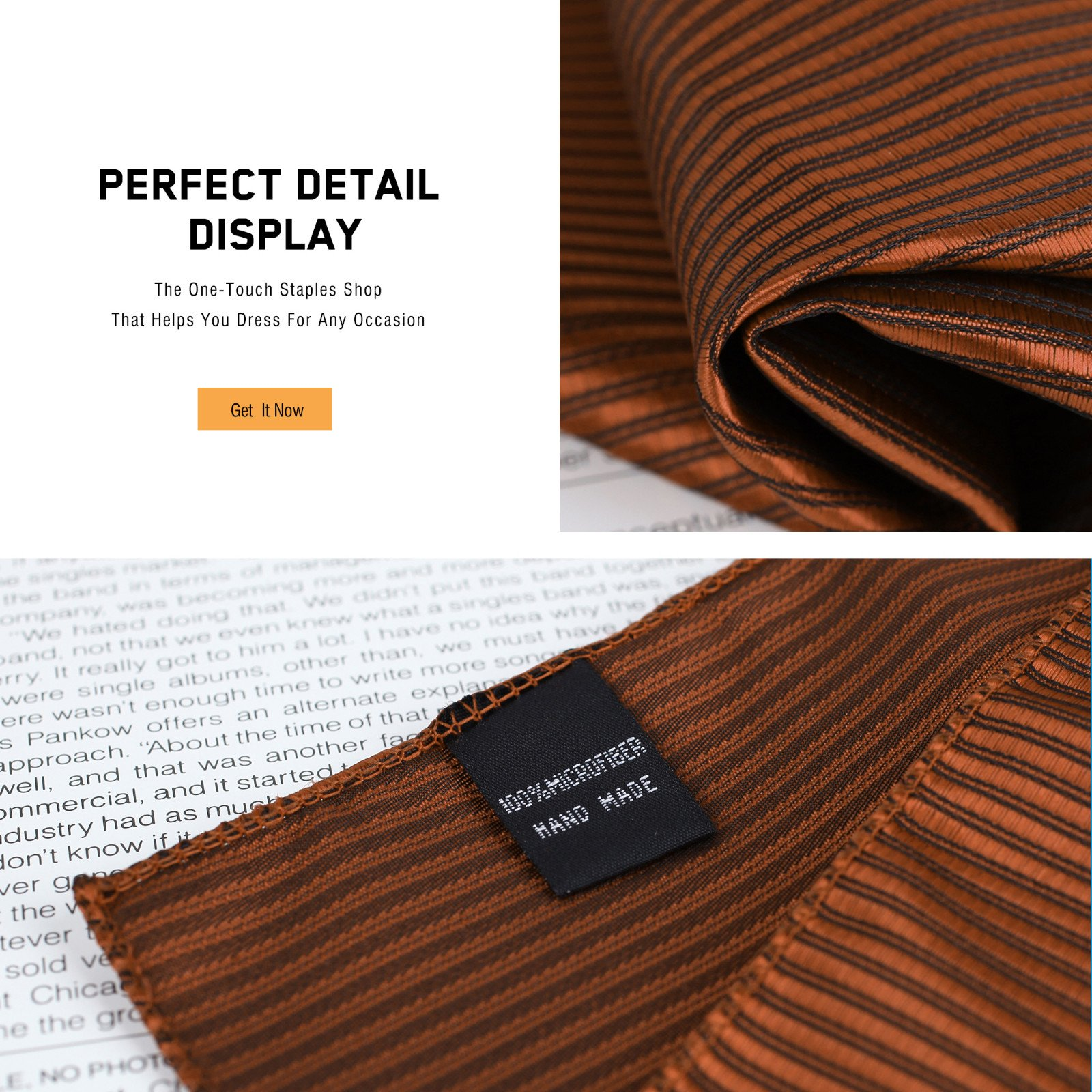 DEIA0004 Designer Stripes Microfiber Birthday Gifts for Mens Hanky Set 5 Hankerchiefs Set-Pink, Dark Orange, Grey, Beige, White By Dan Smith by Dan Smith (Image #3)