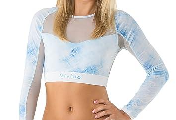 Vivida Lifestyle Bikini Crop Top Manga Larga Mujer Surf Azul Caribeño - Talla  M 8bd3b5597c9