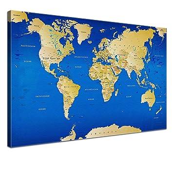 Amazon De Lana Kk Weltkarte Leinwandbild Mit Korkrückwand Zum