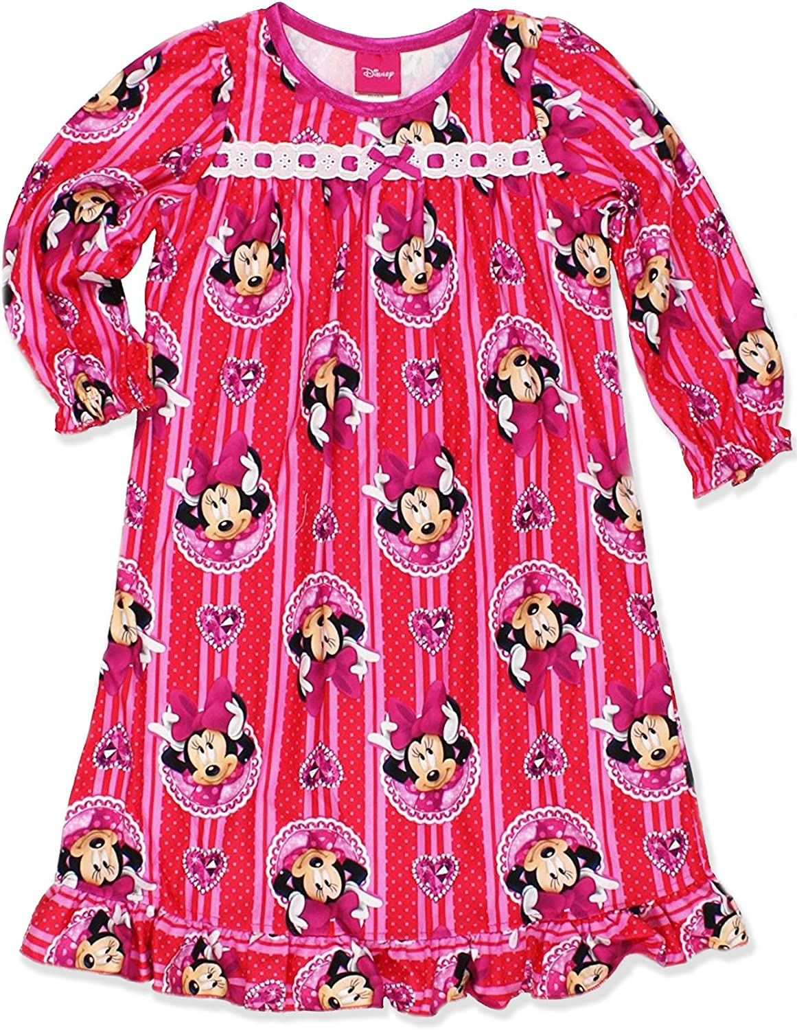 Disney Minnie Mouse Girls Flannel Granny Gown Nightgown (Toddler/Little Kid/Big Kid)