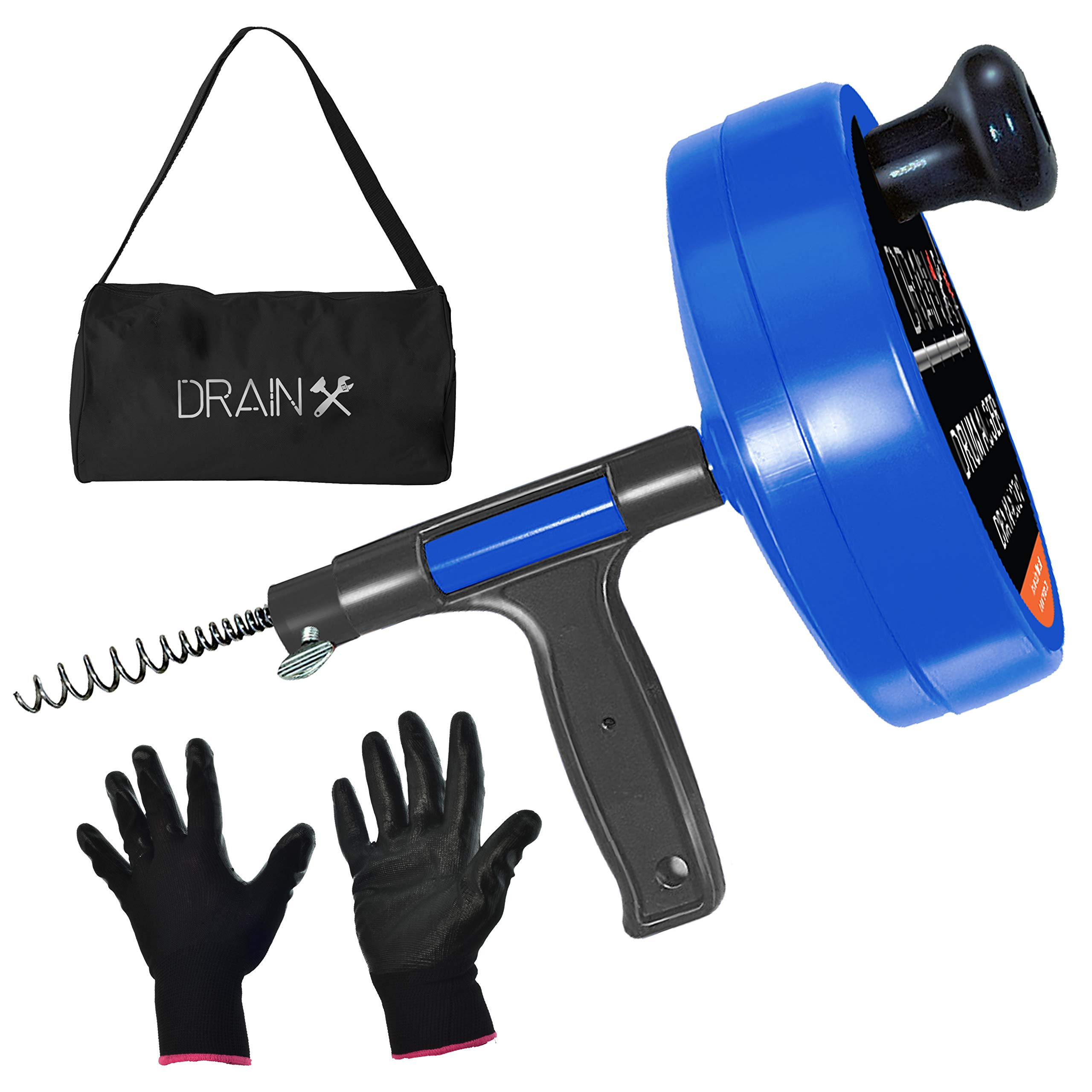 Drainx Pro 35-FT Steel Drum Auger Plumbing Snake | Drain Snake Cable with Work Gloves and Storage Bag by DrainX
