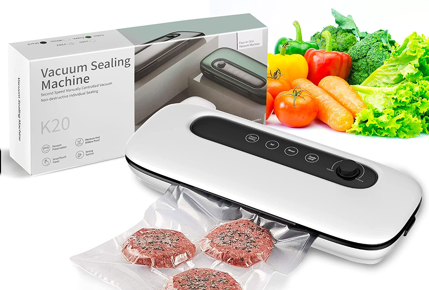 Vacuum Sealer Machine, Automatic Vacuum Air Sealing System For Food Preservation,60KPA Strong Suction,Dry&Moist Food Modes(White)