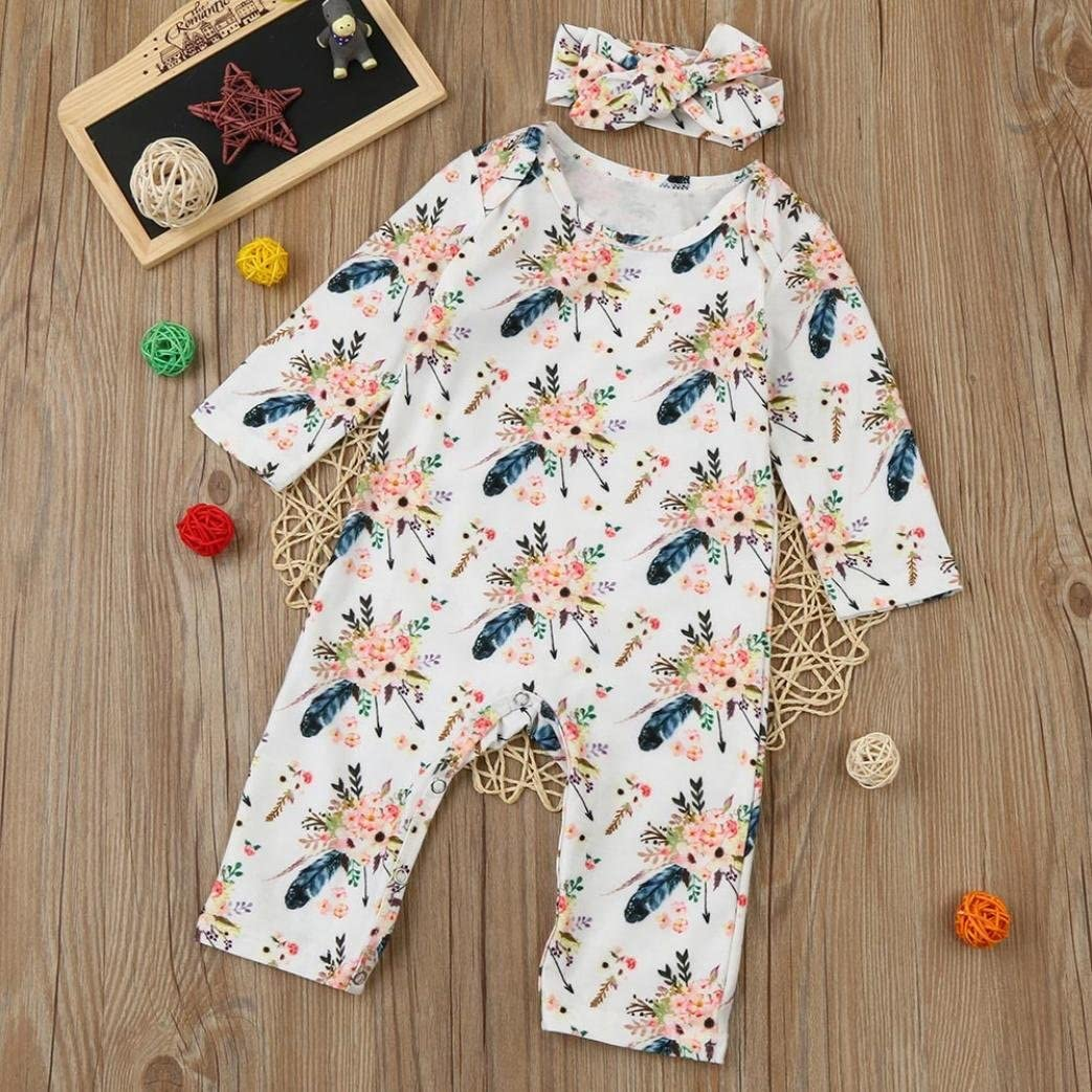 Headband Outfit Set Baby Boy Girl Floral Romper Franterd Jumpsuit for Newborn