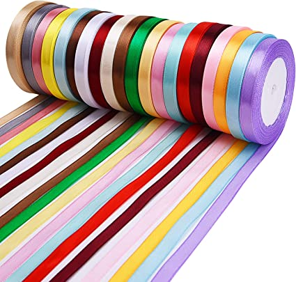 20 Rolls Livder 20 Colors 500 Yard Fabric Ribbon Silk Satin Roll Embellish Ribbons for Bows Crafts Gifts Party Wedding 2//5 Inch Width