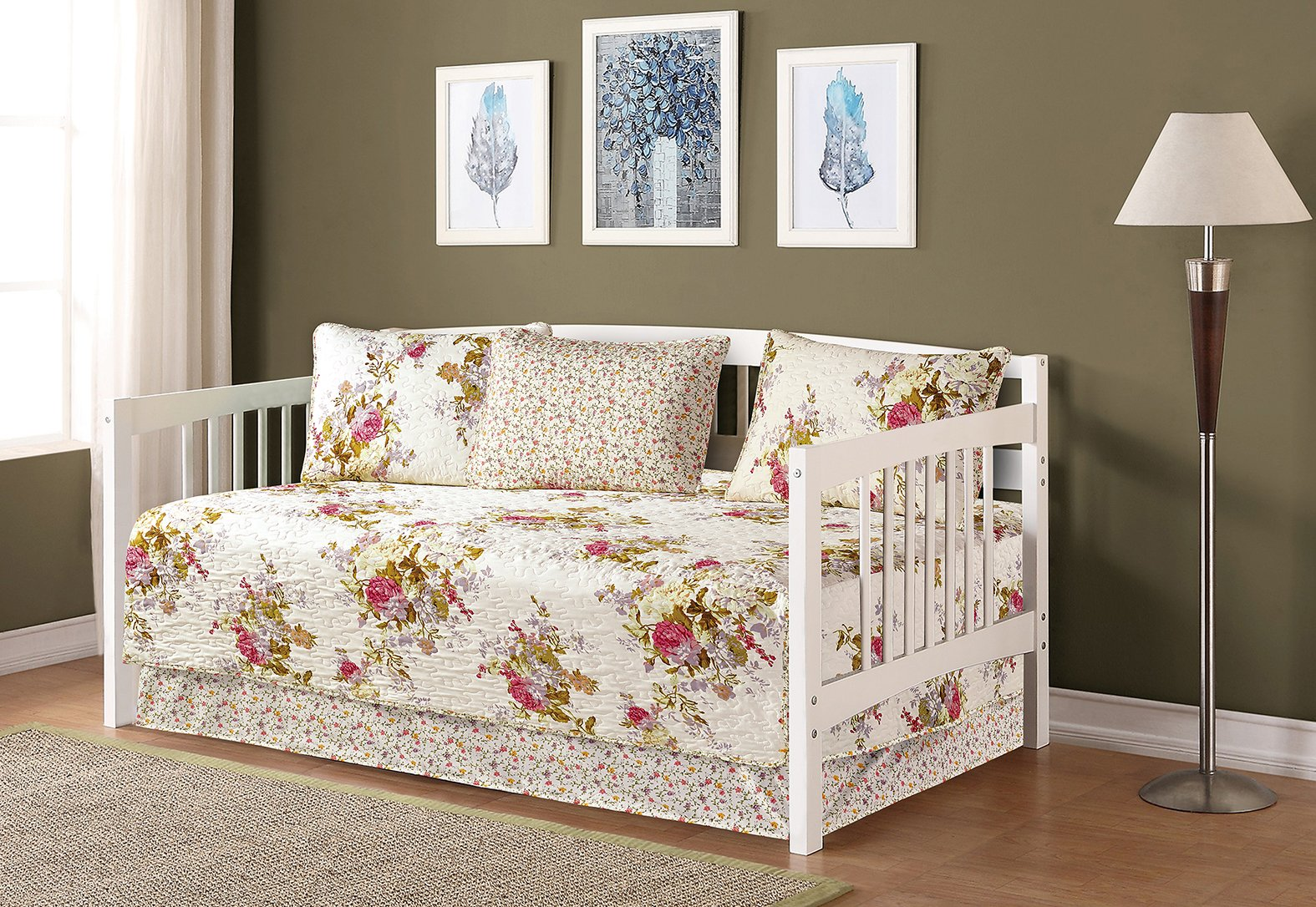 Mk Collection 5pc Day Bed Reversible Quilted Bedspread Set Flowers Off White Green Pink Purple New