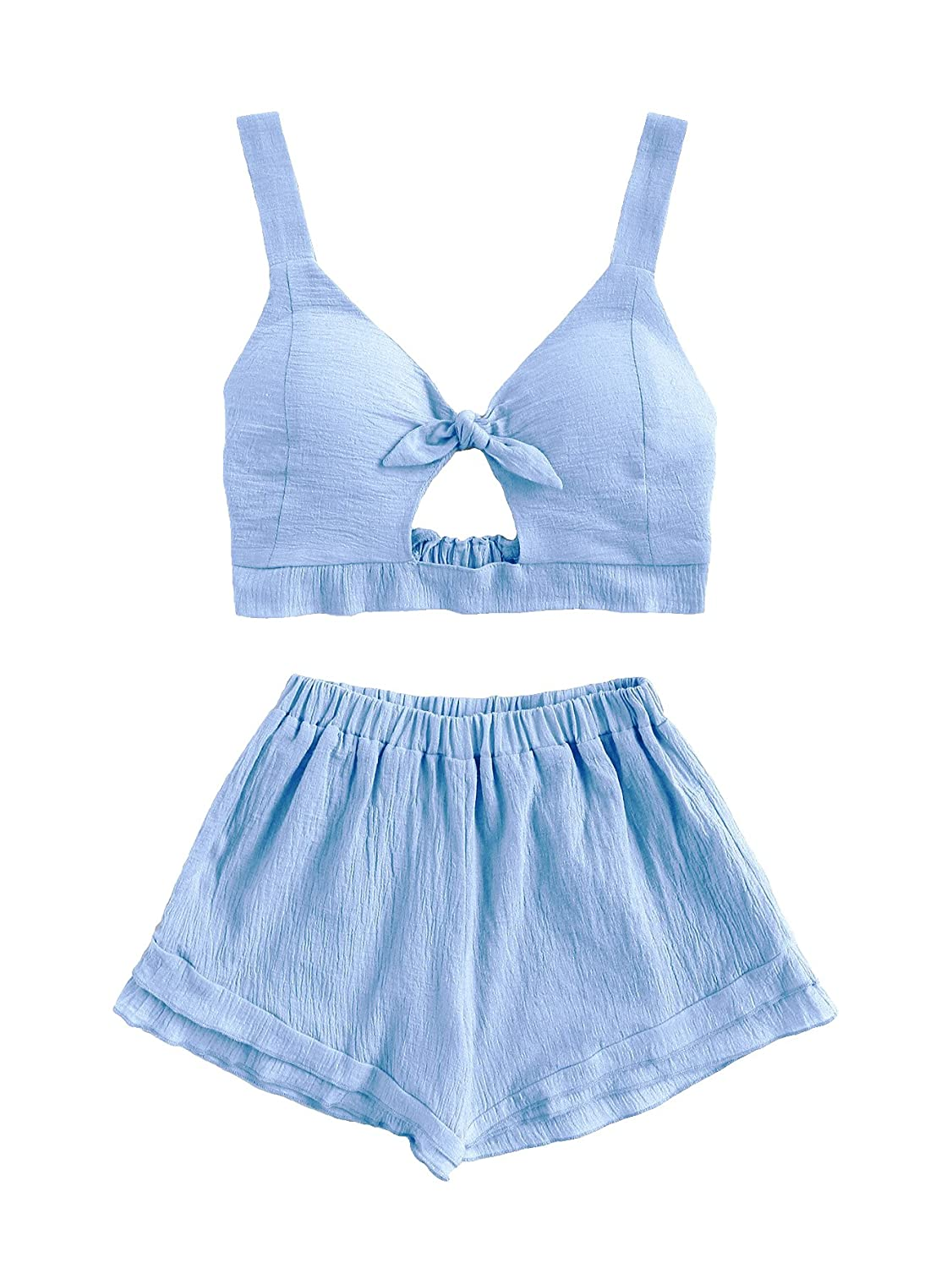 1e35fb3293d2 ... Cotton;Ginger / Blue / Burgundy / Pink:65% Cotton, 35% Polyester The  items is a little see through.Sleeveless Backless Crop Top Shorts Two  Pieces Set