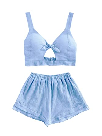 7ae9c831eac2c SheIn Women s V Neck Knot Front Crop Top 2 Pieces Outfits With Shorts Blue  Small
