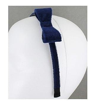 "Navy Blue velvet velour headband side bow hair band grip teeth 3//8/"" wide dressy"