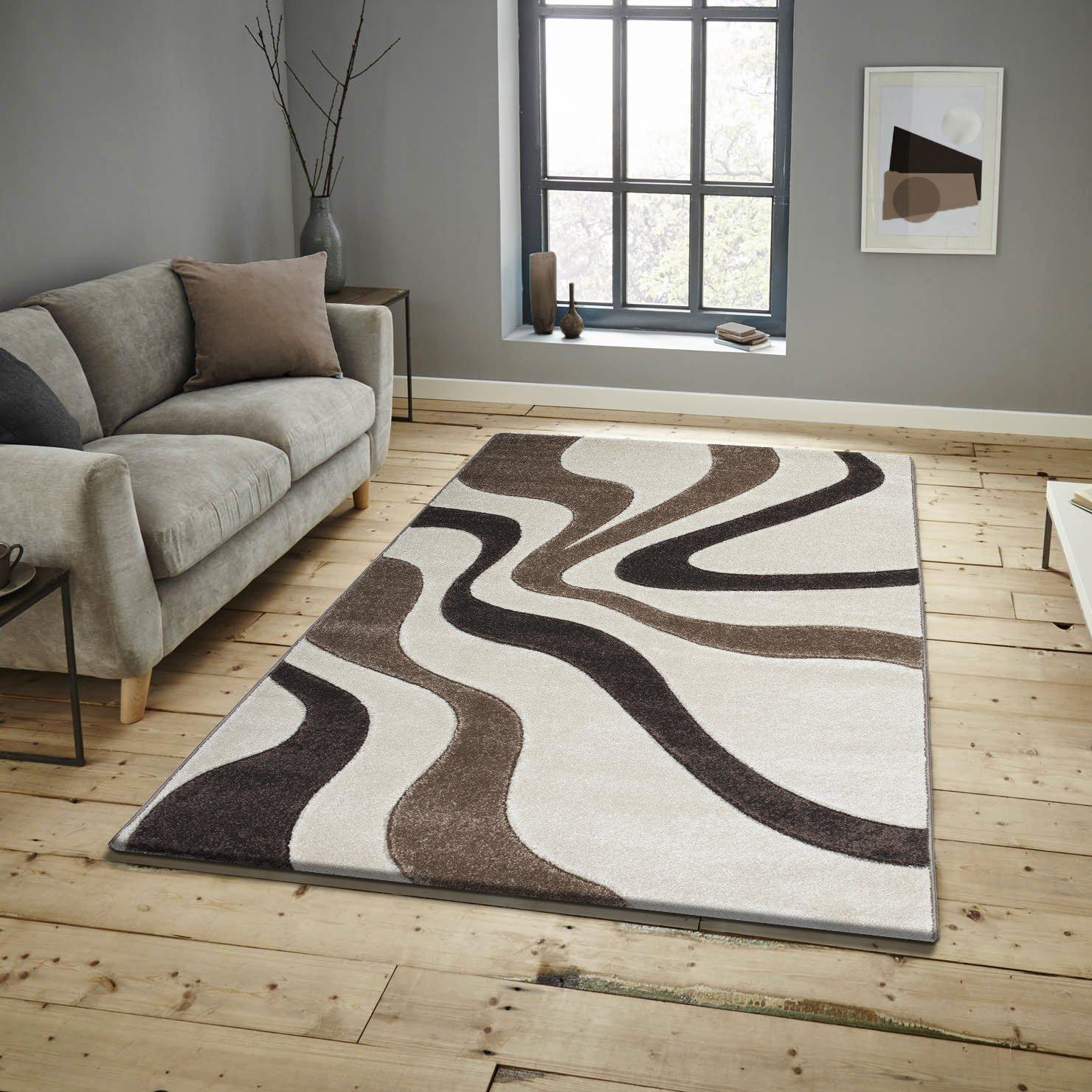 Keymura Wohnzimmerteppich im Modernem Design Prada Teppich mit Hoch-Tief Muster Florhöhe 15 mm Farbe  Natur Braun   Beige Größe  160x230 cm