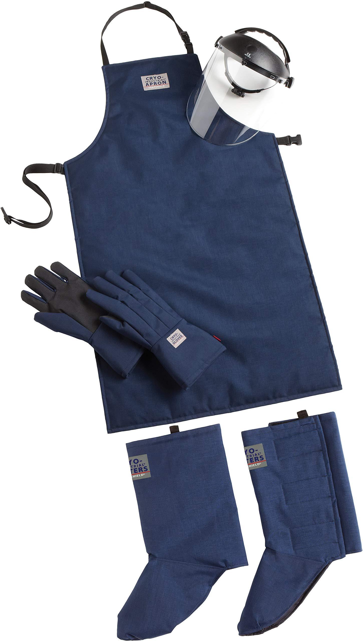 Cryo-Protection Safety Kit Plus: Mid-Arm Cryo-Industrial Gloves, 42'' Cryo-Industrial Apron, Cryo-Industrial Gaiters, Cryo-Protection Face Shield (Large)