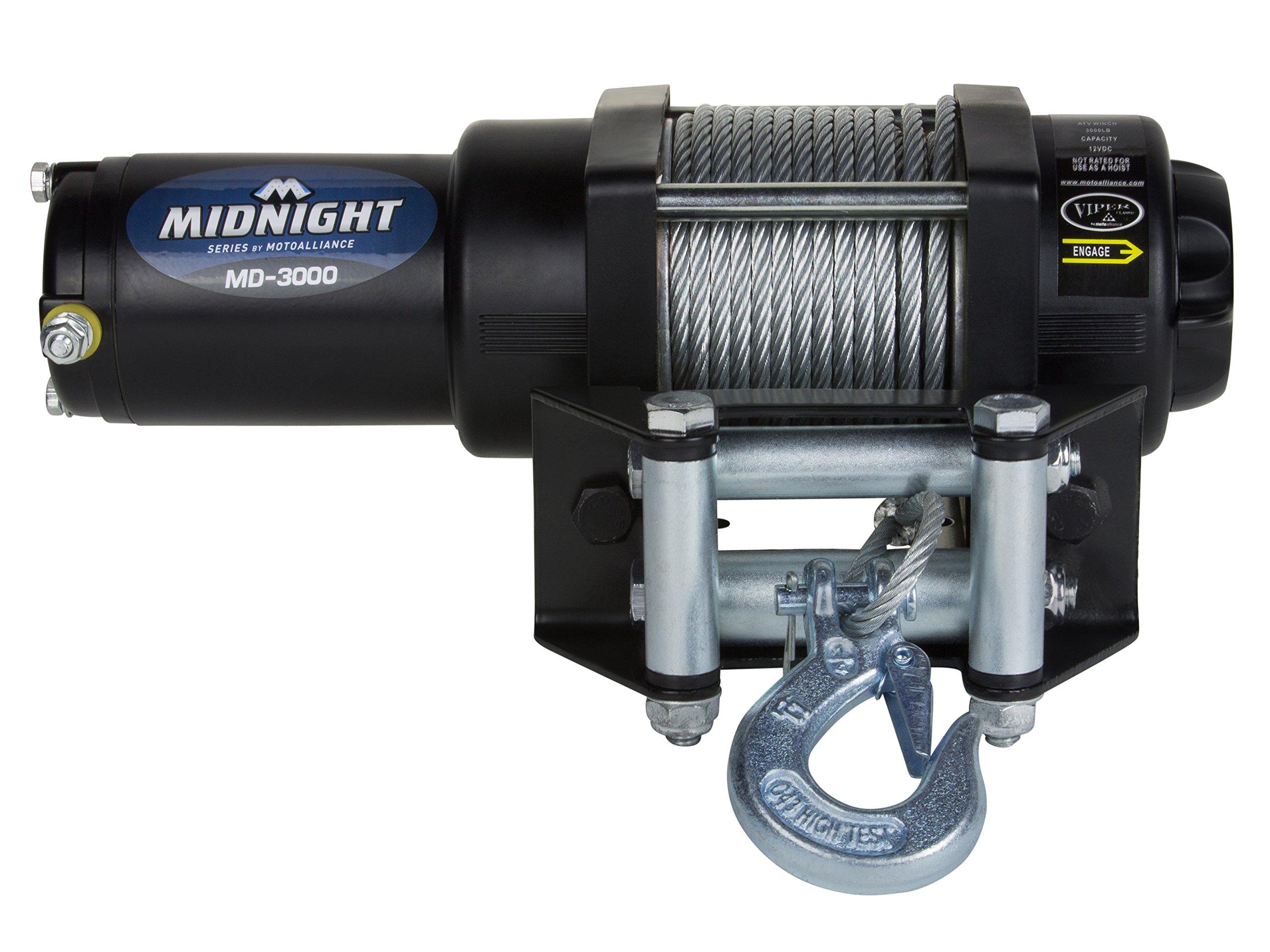 MotoAlliance VIPER Midnight ATV/UTV Winch 3000lb with 50 feet Steel Cable by MotoAlliance
