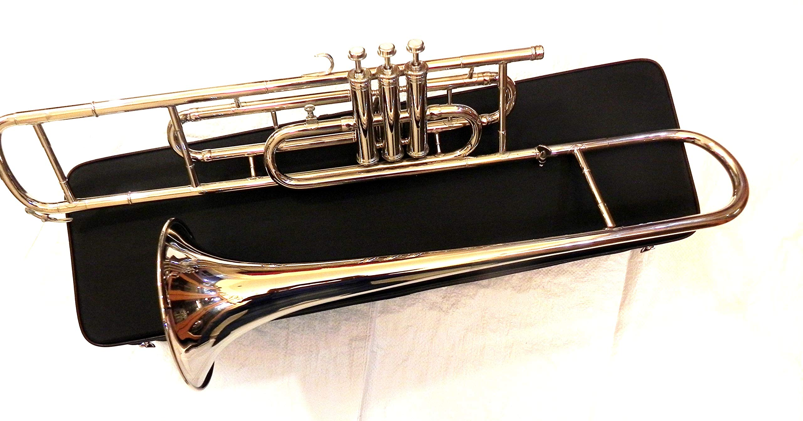 IM 3-Valve Silver Bb Tenor Trombone for Trumpet Crossover Players with Designer Hardcase