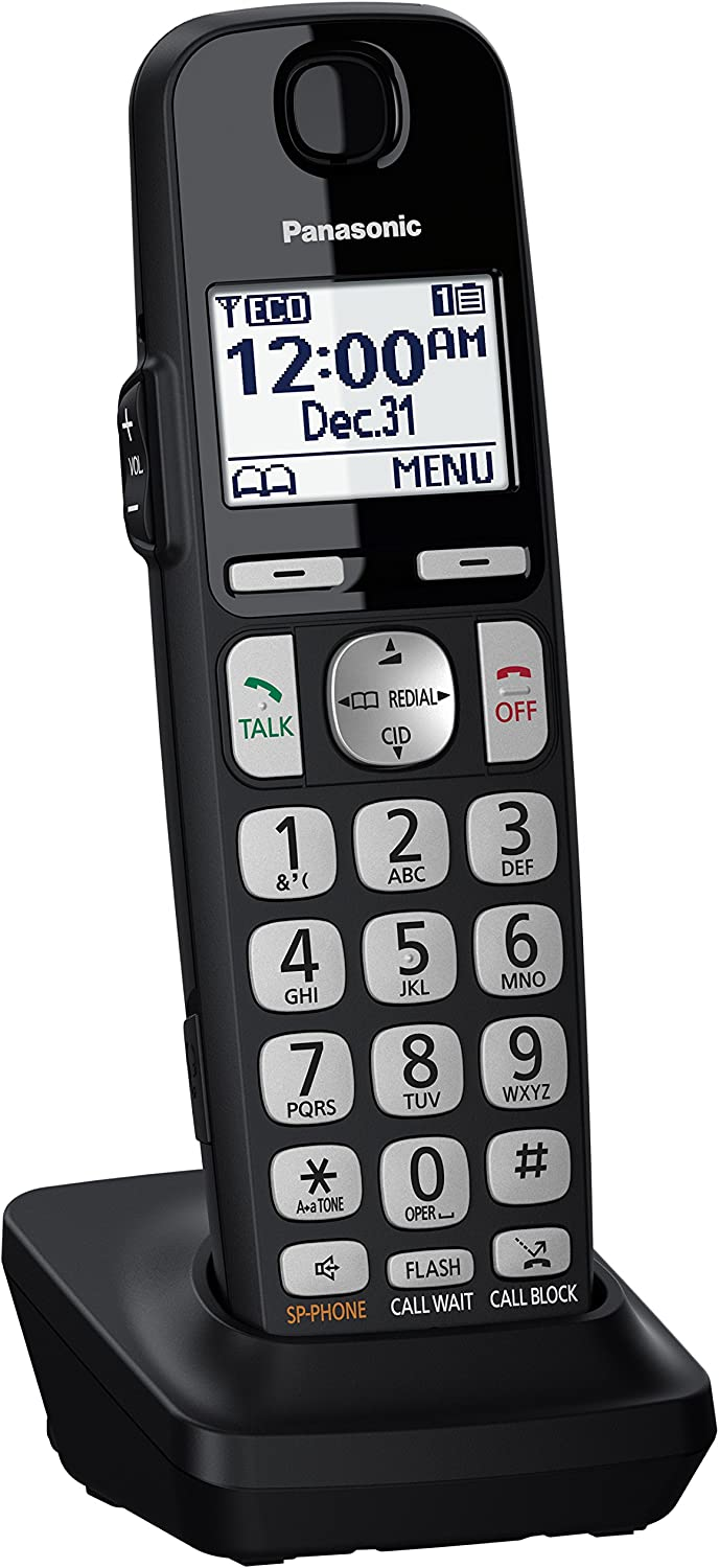 KX-TGE432B Black 2 Handsets PANASONIC DECT 6.0 Expandable Cordless Phone System with Answering Machine and Call Blocking