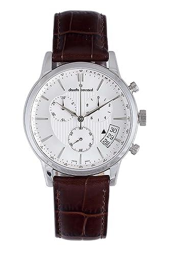 34e69f0ea Claude Bernard Men's 01002 3 AIN Classic Brown Leather Chrono Tachymeter  Big Date Watch: Amazon.co.uk: Watches