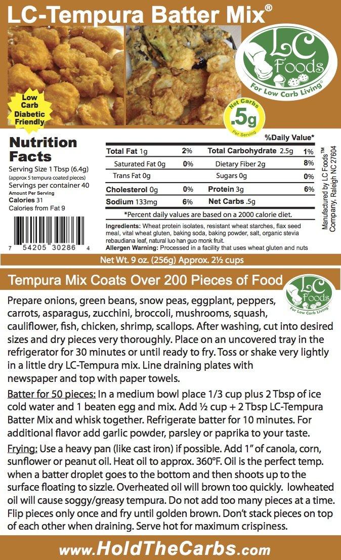 Low Carb Tempura Batter Mix - LC Foods - All Natural - No Sugar - Diabetic Friendly - 9 oz