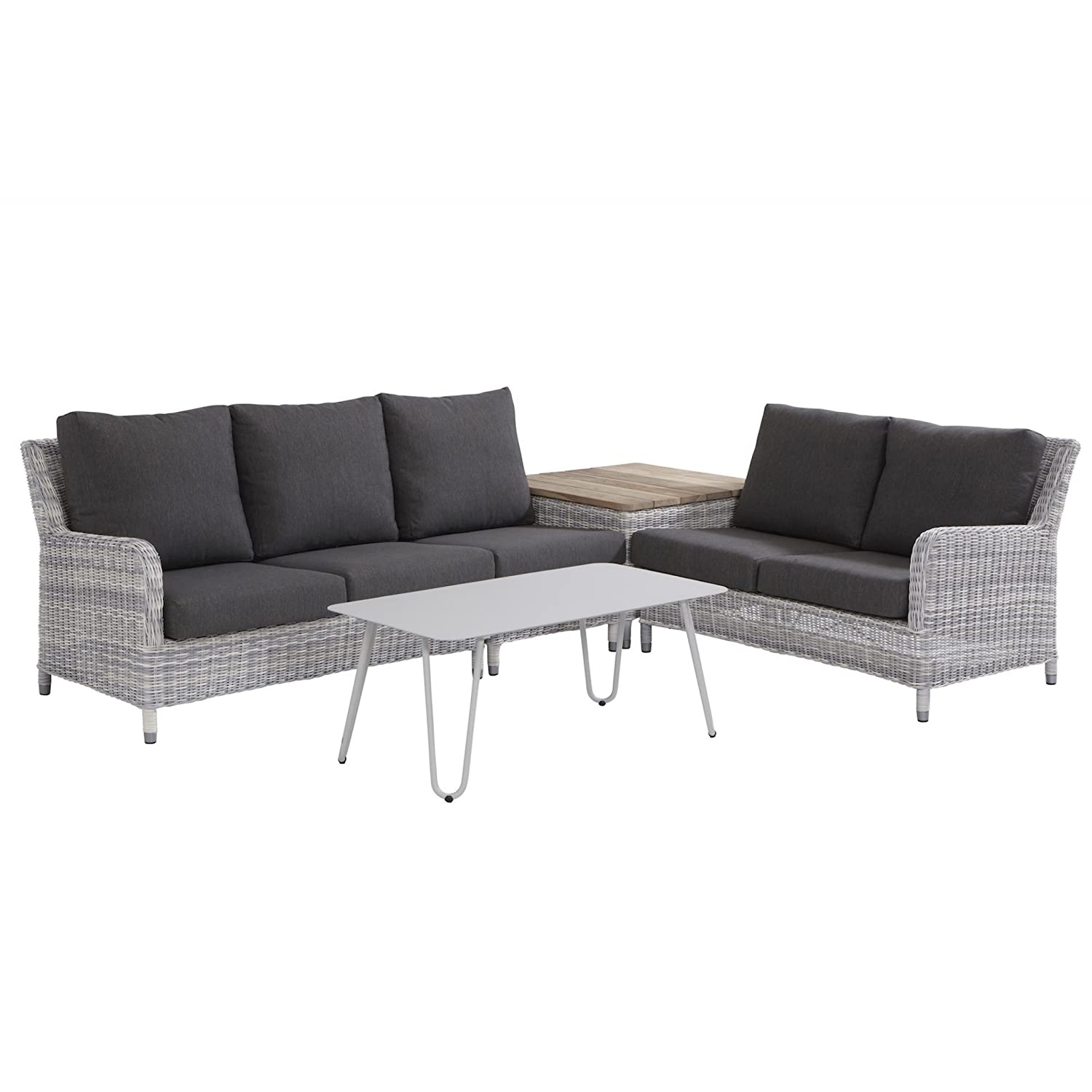 4Seasons Outdoor Indigo 5-teilige Loungegruppe Polyrattan Ice mit Cool Tisch