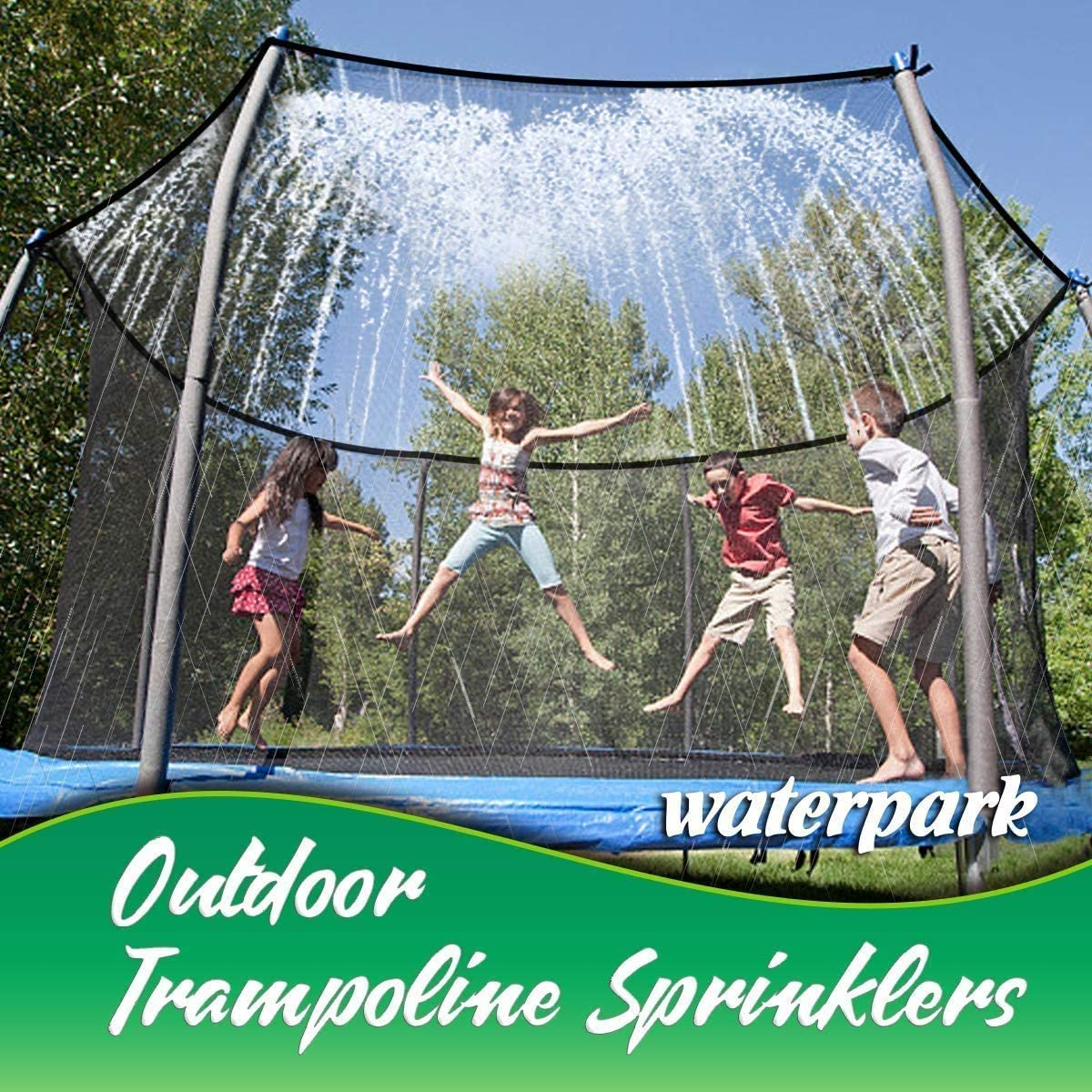 Trampoline Sprinklers for Kids Outdoor Fun Trampoline Water Park Summer Toys Trampoline Accessories 39.3ft Outside Water Toy Attached on Trampoline Safety Net Enclosure