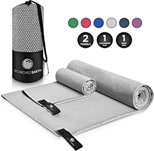 ScorchedEarth Microfiber Travel & Sports Towel Set - Quick Dry, Super Absorbent, Compact, Lightweight - for Camping, Backpacking, Hiking, Beach, Yoga, Swimming - Includes 2 Sizes + Carrying Bag & Clip