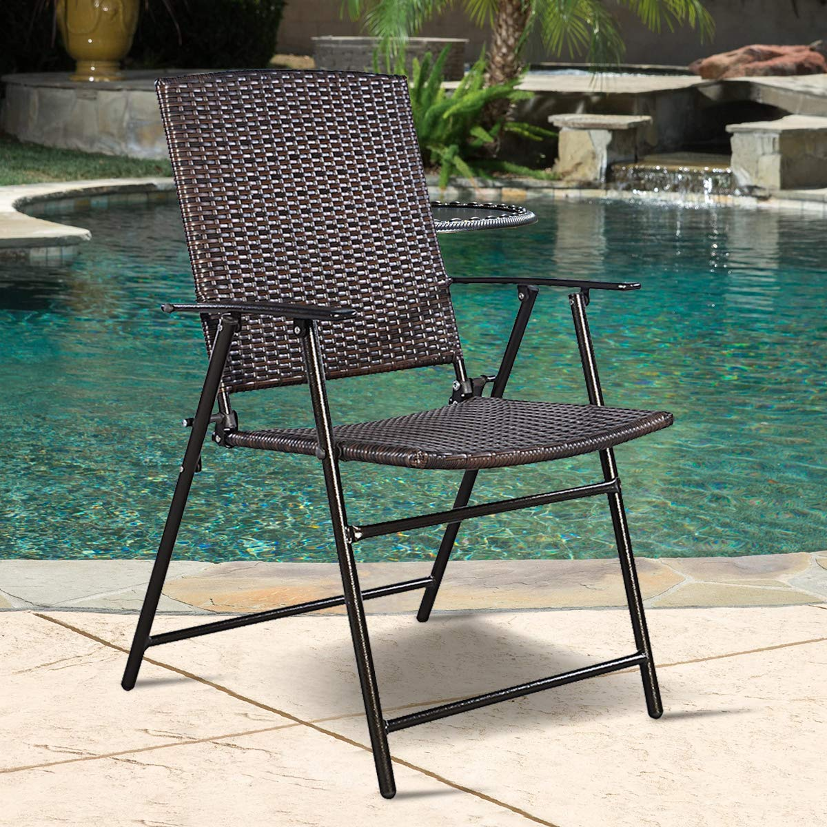 Tangkula 4 PCS Folding Patio Chair Set Outdoor Pool Lawn Portable Wicker Chair with Armrest & Footrest Durable Rattan Steel Frame Commercial Foldable Stackable Party Wedding Chair Set (24X23X37) by Tangkula (Image #5)
