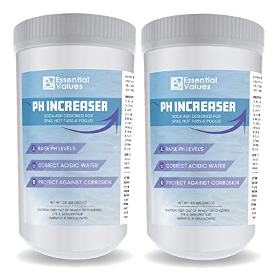 Essential Values 2 Pack PH Increaser (2.50 LBS per Bottle) - Soda Ash is Perfect for Balancing & Maintaining Hot Tubs, Spas, Pools - Fight Corrosion & Acidic Water Safely, Proudly Made in USA : Garden & Outdoor
