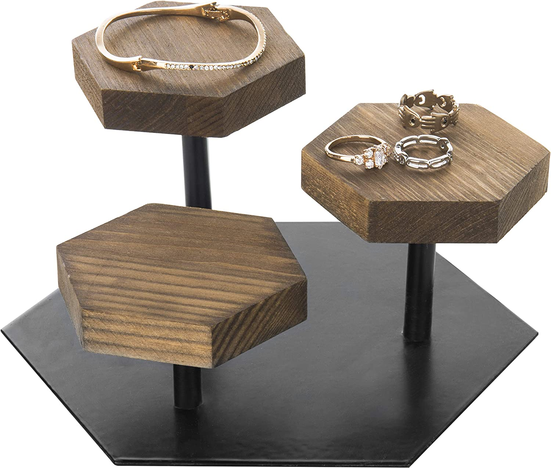 MyGift 3-Tier Rustic Brown Wood & Black Metal Jewelry Display Riser