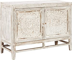 Signature Design by Ashley - Fossil Ridge 2-Door Accent Cabinet - Contemporary - Heavy Antiqued White Finish - Hand Carved Medallion Pattern