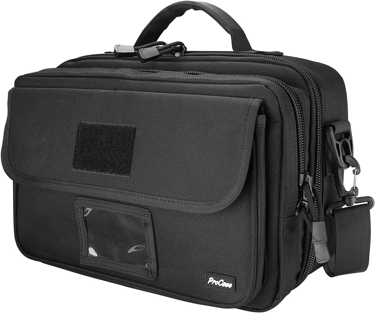ProCase Tactical Gun Range Bag, Deluxe Padded Pistol Case Shooting Range Duffle Bag for Up to 4 Handguns, 8 Magazine Cartridge, Eye Glasses, Ear Muffs and Other Shooting Accessories -Black