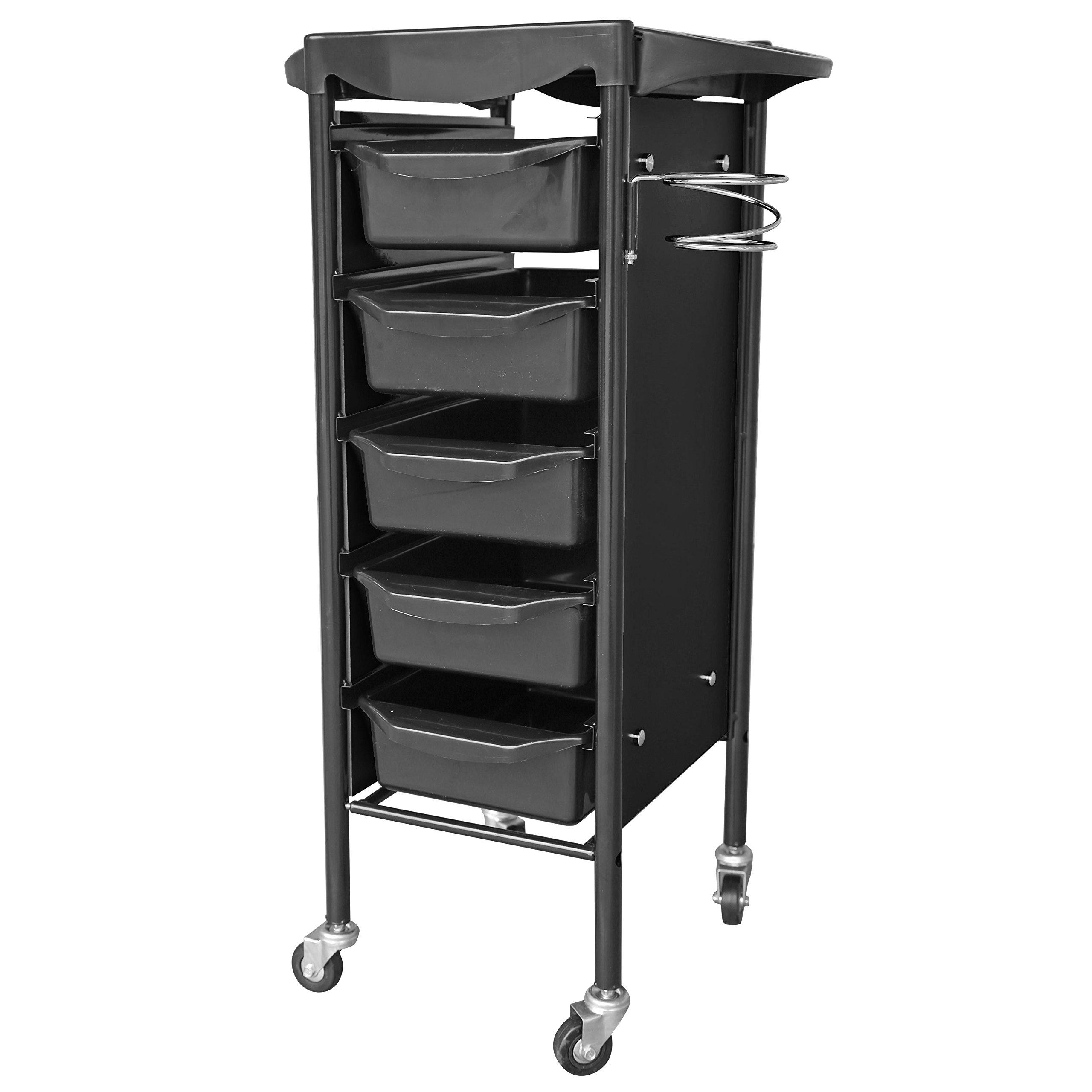 crownroyaljack Beauty Salon Rolling Trolley Storage Cart with 5 Removable Drawer, Black 02