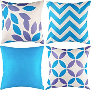 Bacicco Set of 4 Pillow Covers, 18 x 18 Inch Pillow Covers,Light Blue and Grey Throw Pillowcase,Linen Modern Geometric Decor Pillow Case, Soft Home Decor Cushion Covers for Couch Sofa Living Room