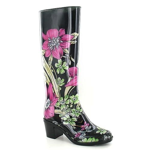 adf65177ce4 Spot On - Botas de Agua Wellignton con tacón y Estampado Floral para Mujer   Amazon.es  Zapatos y complementos