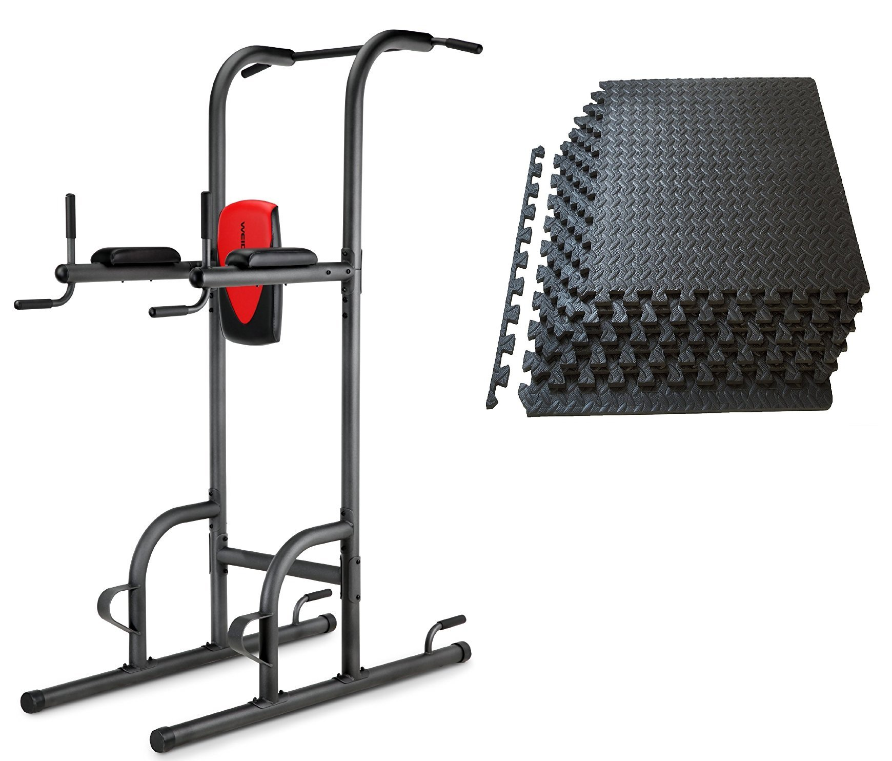 Power Tower with 6 mats helps train for Pull Ups, Knee Raises, Dips, and Push Ups by WeiderGold'sGym