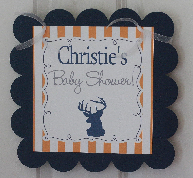 Grey /& Orange and Navy /& Orange Stripe Also Comes in Light Green Navy Blue /& Grey Woodland Creature Baby Shower Deer Silhouette HunterIts A Boy Banner